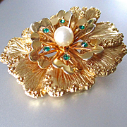 Lovely Layered Flower Brooch Faux Pearl Sara Coventry