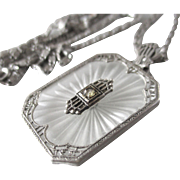 Art Deco Sterling Camphor Pendant With Sterling Chain
