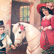 Victorian Chromolithograph Germany Boy Girl Horse