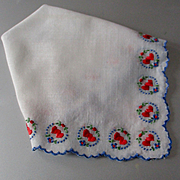 Embroidered Hearts On Scalloped Border Hanky