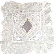 Small Gorgeous Ruffled Lace Embroidered Hanky Bridal Or Doll