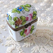 Limoges Hand Painted Ormolu Porcelain Trinket Trunk For Dollhouse