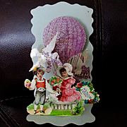 Victorian German Die Cut Pop Up Valentine Boy Girl Floral Balloon