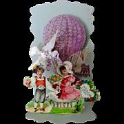Victorian German Die Cut Pop Up Valentine Boy Girl Floral Balloon