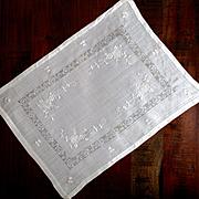 Vintage Batiste Linen Embroidered Tea Or Dresser Mat Grapes and Vines