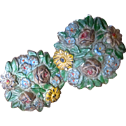Vintage Hubley Cast Iron Flower Tie Backs Roses and Daisies