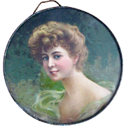 Victorian Chromolithograph Flue Cover Beautiful Woman - Red Tag Sale Item