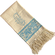 Large Damask Towel Blue Letter C Hand Embroidered