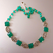 Art Deco Green Onyx Marcasite Necklace
