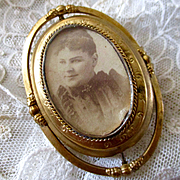 Large Gold Filled Victorian Spinning Photograph Brooch