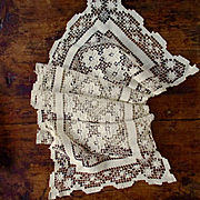 Hand Made Knotted Cluny Bobbin Over Filet Lace Runner