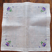 Beautiful Embroidered Pansy Linen Hanky