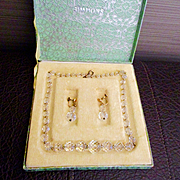 Art Deco Simmons Crystal  14K  Necklace Earrings Fabulous Deco Box