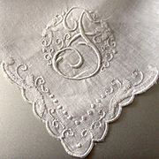 Pristine Linen Embroidered Hanky Swirling Letter F