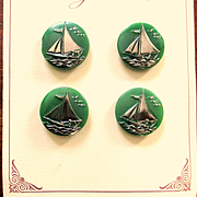 Art Deco Glass Buttons Silver Sail Boats