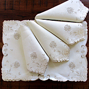 Exquisite Cut Work Pierced Embroidered Linen Mats Matching Napkins Mums