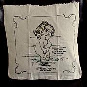 """1910 Campbell Art Co Muslin Pillow Cover Signed Drayton """"September Morning"""""""