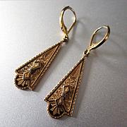 Victorian Taille d' Epargne  Repousse 12K Drop Earrings