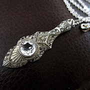 Edwardian Crystal Pendant Sterling Chain