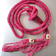 Fabulous Art Deco Shocking Pink Flapper Beads Venetian Rosettes