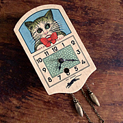 1930's-40's German Miniature Cuckoo Clock Cat Rolling Eyes
