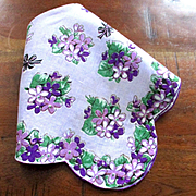 Violets Bows Scalloped Lavender Hanky