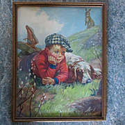 Early 1900's Chromolithograph Little Boy Dog Rabbit Original Frame