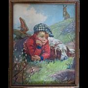 Early 1900's Chromolithograph Little Boy Dog Rabbit Original Frame