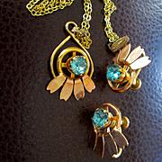 Vintage 50's Van Dell Yellow Rose Gold Filled Aqua Stones Set