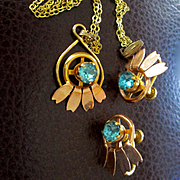Vintage 50's Van Dell Yellow Rose Gold Filled Aqua Stones Set