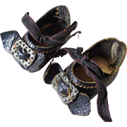 """Antique German Tiny Leather 1"""" Shoes For Mignonette Buckles Bows Ribbons"""