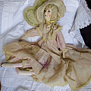 Wonderful 20's French Silk Face Boudoir Doll Fabulous Dress Bonnet