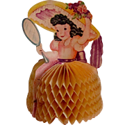 Darling Honeycomb Easter Card Girl With Large Bonnet