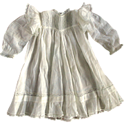 Victorian Ruffled White Lace Gown For Larger Doll
