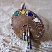 Victorian Chased Brushes Palette Brooch Enameled