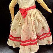 Muslin Hand Sewn Full Skirt Roses Silk Ribbon Flounce
