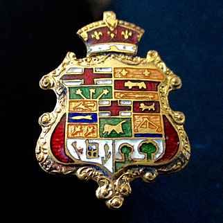 Edwardian Enameled Guilloche Repousse Coat of Arms Hat Pin
