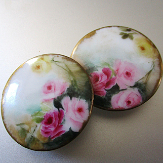 Large Victorian Hand Painted Limoges Stud Buttons Roses