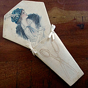 Edwardian Painted Silk Scissors Holder Beautiful Woman Illustration