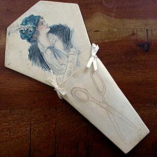 Edwardian Painted Silk Scissors Holder Beautiful Woman Illustration