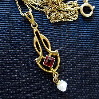 Dainty Garnet Pearl 10K Lavalier 14K Chain