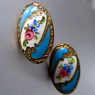 Victorian Hand Painted Repousse Gilt Buttons