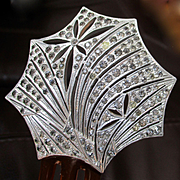 Art Deco Sterling Silver Rhinestone Mantilla Hair Comb