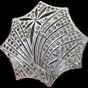 Art Deco Sterling Silver Rhinestone Mantilla Hair Comb