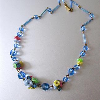 Czech Glass Flower Necklace