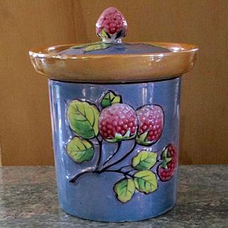 Adorable Luster Ware Takito Co. 3 Dimensional Raspberry Jam Jar