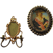 Tin Ormolu Sconce Candles  Beaded Picture Frame Portrait Lithographed Woman