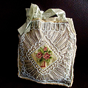 Silk Beaded Petit Pointe Purse For Boudoir Doll And Display