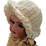 Antique French Lace Silk Doll Ruffled Bonnet