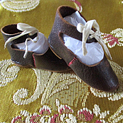 Vintage Leather Ankle Tie Doll Shoes